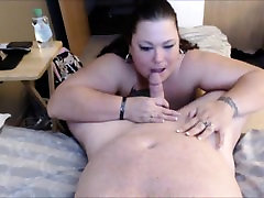 BBW sucks his shaft and he fingers her