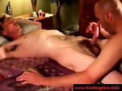 Mature bears tug and suck cock