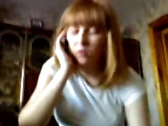 Blowjob and handjob by Redhead Russian Teen while on phone