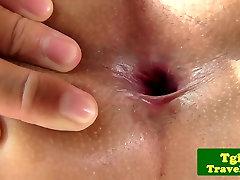 Petite asian ladyboy soloplays with dildo