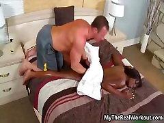 Sexy ebony babe gets her hot naked babe part1