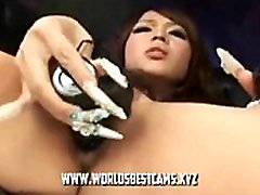 Japanese Teen With Long Nails Playing Herself On Live Show