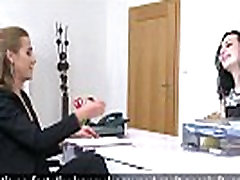 Female agent licks pale Russian babe in casting