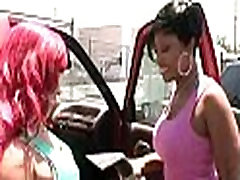 Dirty ebonies flaunting big asses at car wash