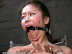 Asian bdsm of slave Tigerr Benson in oriental bondage and extreme pain of clothe