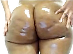 Round ebony booty oiled and ready