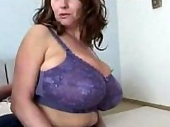Mature MILF Huge Natural Tits Purple Nurse Bra