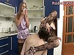 Pretty Lesbian Kissing And Touching Her Girlfriend While A Cute Guy Watches