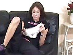 Busty panty licker rubbing her pussy