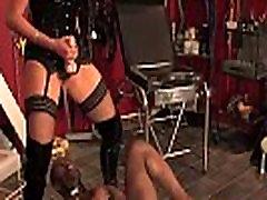 Tall pissing femdom pegging black manslave