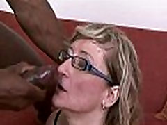 Gilf slut Aja barely fits this huge black dick in her holes