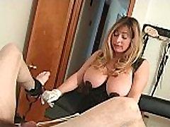 Sexy blonde mistress gets this man bound