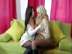 Ashley Brooke and Danielle Maye amateur lesbians kissing and flashing