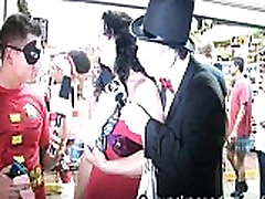 goofy guys interviewing naked girls on the streets of key west fantsy fest