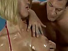 Sexy girl oiled big tits