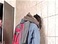 Gay teen twinks suck cock in public toilet