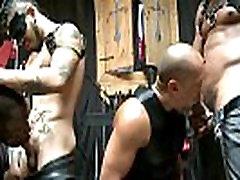 Ebony BDSM gays make subject sucking cock