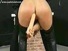 Hot blond milf slave with beautiful tits plays with her own pussy and fucks herself
