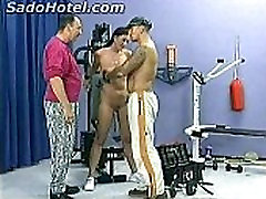 Hot brunette slave with great body doing a workout got alot clamps on her nice tits