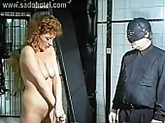 Masked german master puts metal needles to beautiful slave her tiny tits and ass
