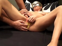 I am an amateur blonde bimbo who took off her panties in this video and put a sex toy on her swollen clitoris to get ecstatic.