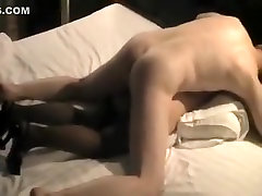 Threesome mature brunette gets her mouth and pussy fucked by two black guys