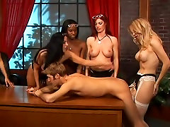 Nasty sluts fucked a guy with a strapon