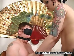 Chubby BDSM Mistress Plays With Her Slave