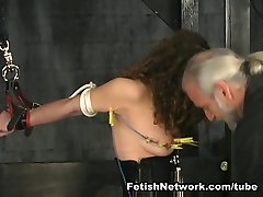 Hannah is ready for extreme bondage suspension