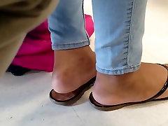 Classmate Candid Ebony Feet in Class