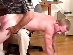 Assistant gets spanked for jacking off