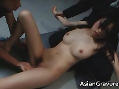 Brunette asian lady ends up covered part6