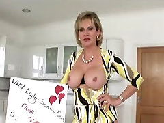 British cougar stripping and sucking dick