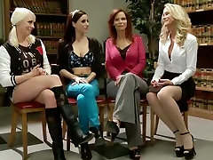Two on two lesbian BDSM action