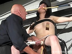 End Honesty Cabellero nipple clamped and spanked on the punishment bench in amateur bdsm footage