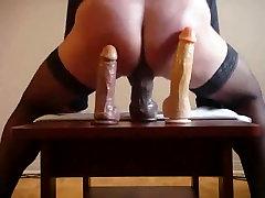 Randy Ladyboy Sticking Her Butt On A Dildo