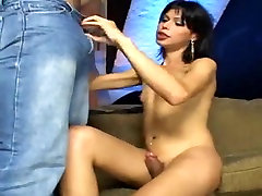 Small Boobed Brunette Shemale Analed Hard