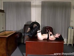 Kinky leather Fae Corbins amateur bdsm and hot wax punishment and submissive training in obedience in pain