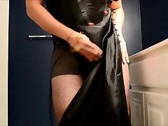 Tease small cock in satin black lingerie blue bra