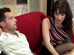 Milf with big natural tits in stockings fucks