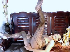 Hot asian shemale dildoing her ass