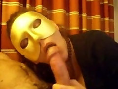 Masked mature wife sucking big cock in this amateur porn clip