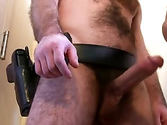 Hairy police officer fucks anothers asshole