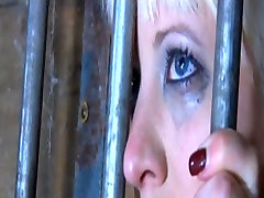 Blonde slut getting her breasts tortured by master