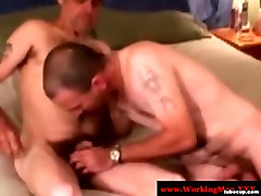 Southern redneck bears tug and suck cock
