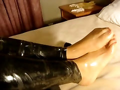 transparent latex gloves and latex nylons