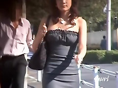 Asian beauty boob sharked in her favorite new dress.