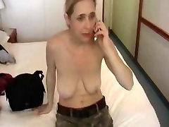Busty blonde MILF gets her tits exposed in voyeur private video