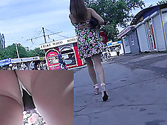 Sexy panties and panty pad in the real upskirts