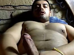 Beefy latin bear with fat dick shooting